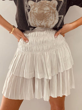 PLEATED SILVER MINI SKIRT