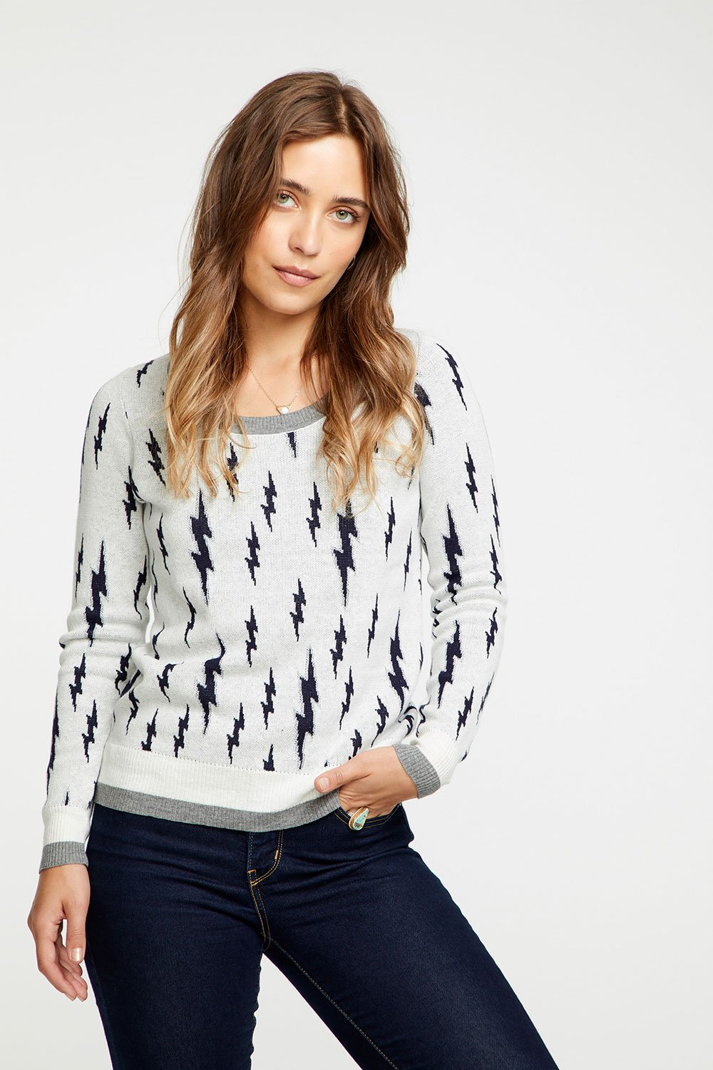 LIGHTING BOLT CASHMERE PULLOVER