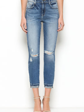 High Rise Distress MOM Fit Crop Jean w Hem Details
