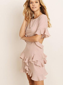 PINK RUFFLE CHIFFON DRESS