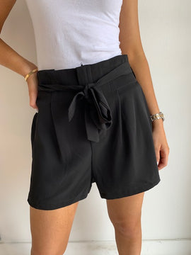 High Waisted Short with Sash Tie Belt and Pockets