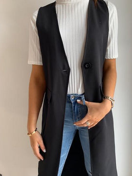 LONG SINGLE BUTTON VEST
