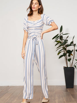 MILA STRIPED PAPERBAG PANT TAN BLUE