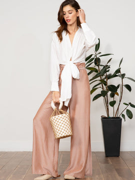 TAUPE STRIPED PANT