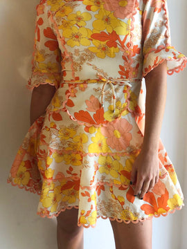 ORANGE AND YELLOW FLORAL DRESS