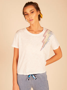 White Rainbow Lightning Bolt Crop Top