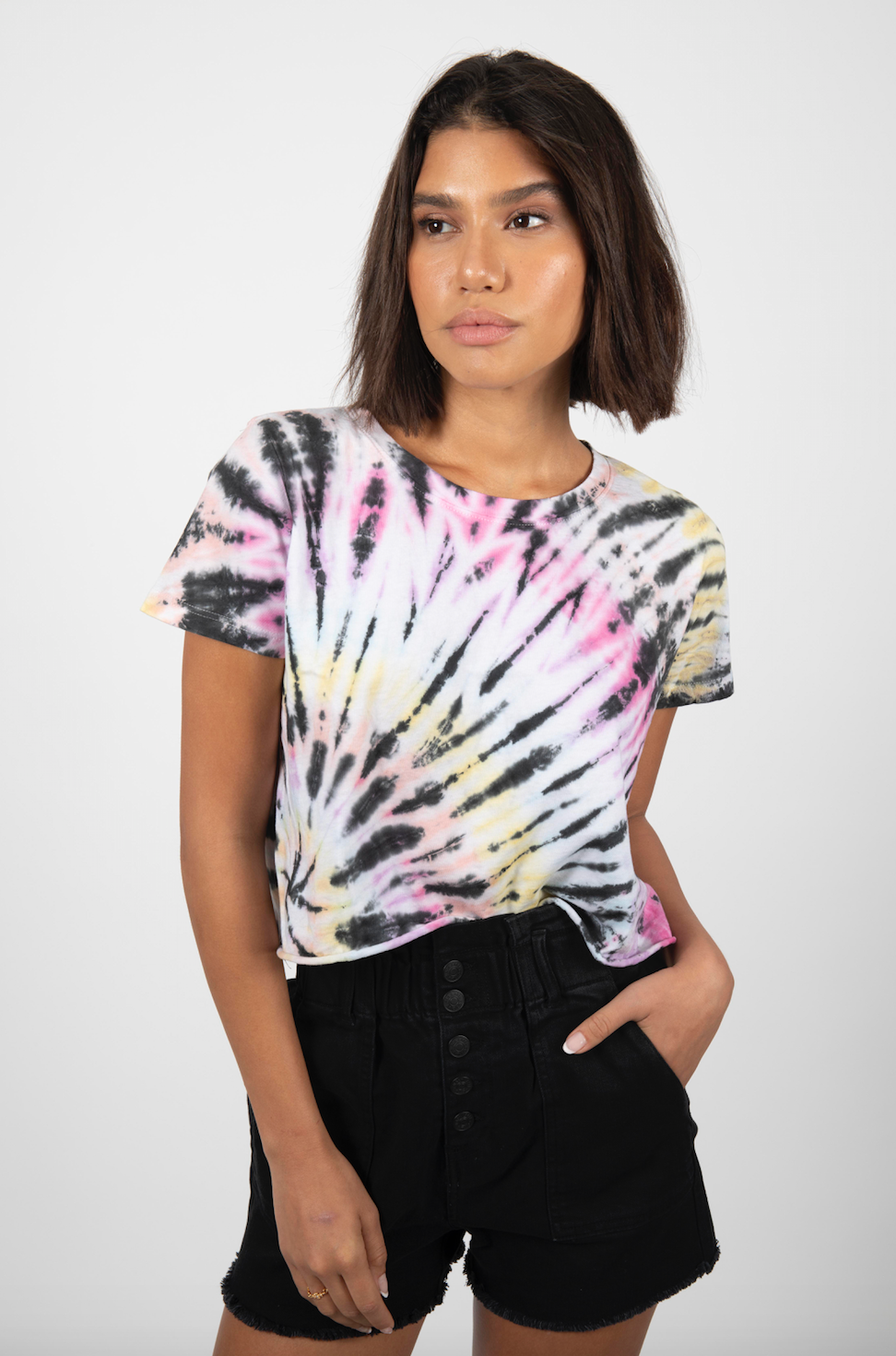 COLOR SPIRAL MIX TIE DYE CROP