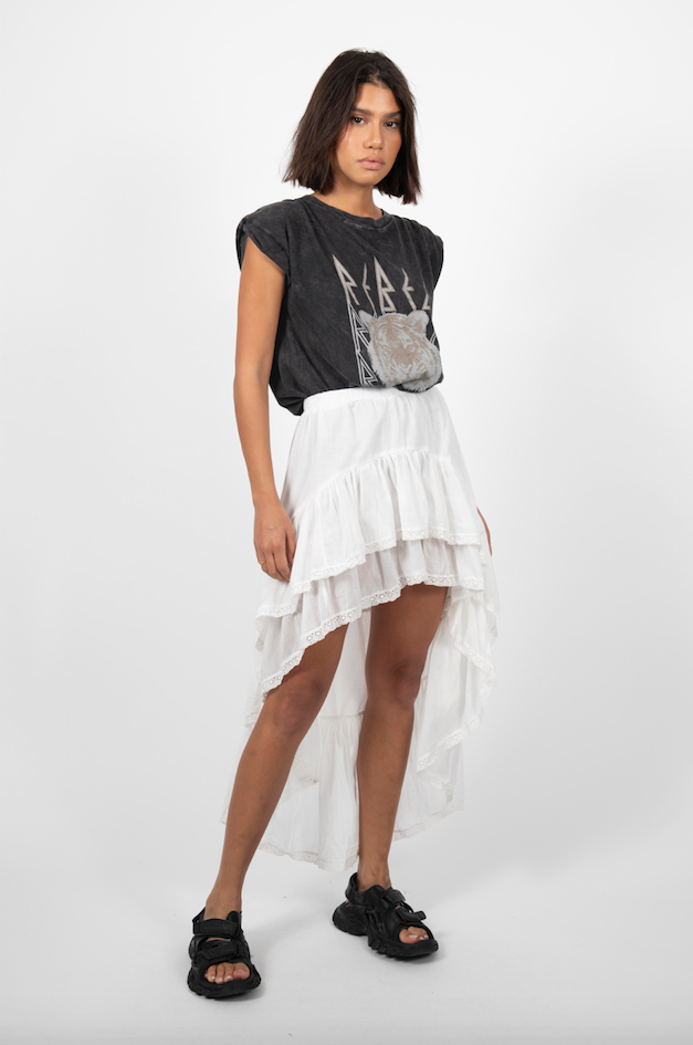 RUFFLE OFF WHITE SKIRT