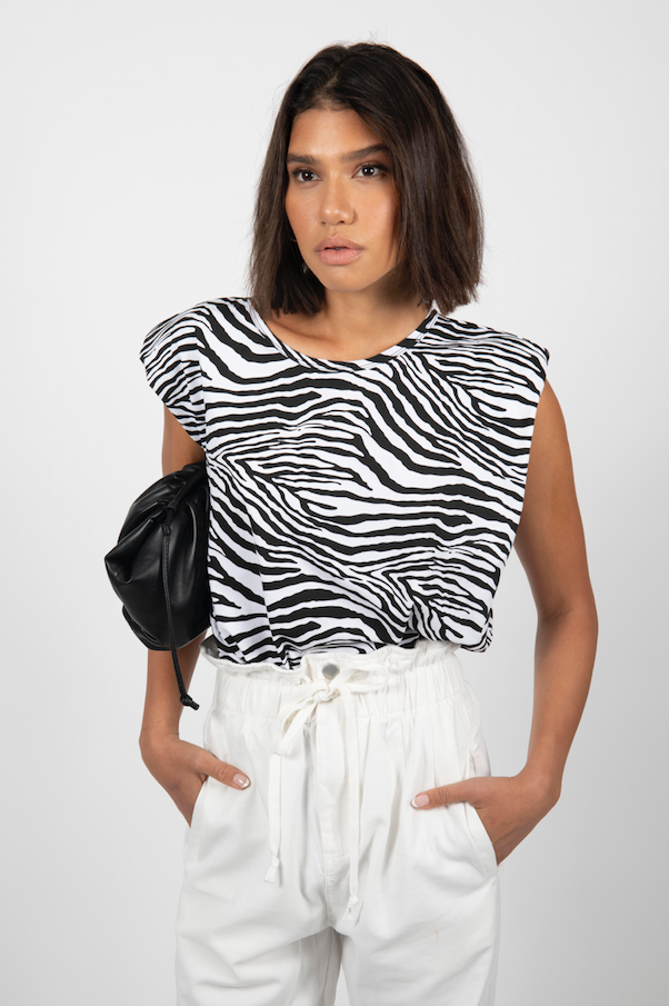 ZEBRA SHOULDER PAD TEE