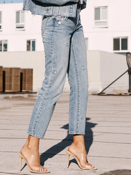 STAR EMBROIDERY HIGH RISE JEANS