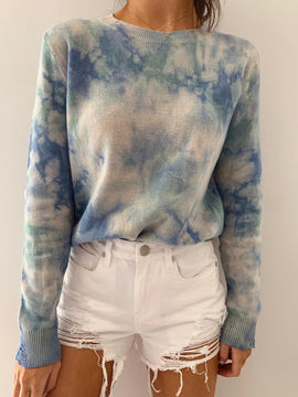 BLUE DISTRESSED SWEATER