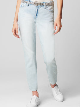 CROP GIRLFRIEND LIGHT WASH JEANS