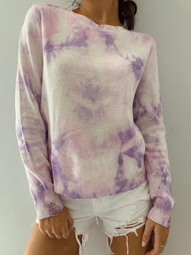 PURPLE DISTRESSED SWEATER