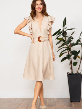 CELESTE BELTED DRESS TAN