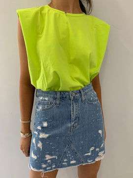 YELLOW SHOULDER PAD TEE