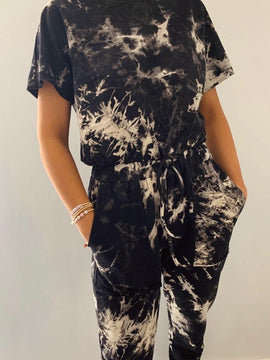 SHORT SLEEVE TIE DYE JUMPSUIT