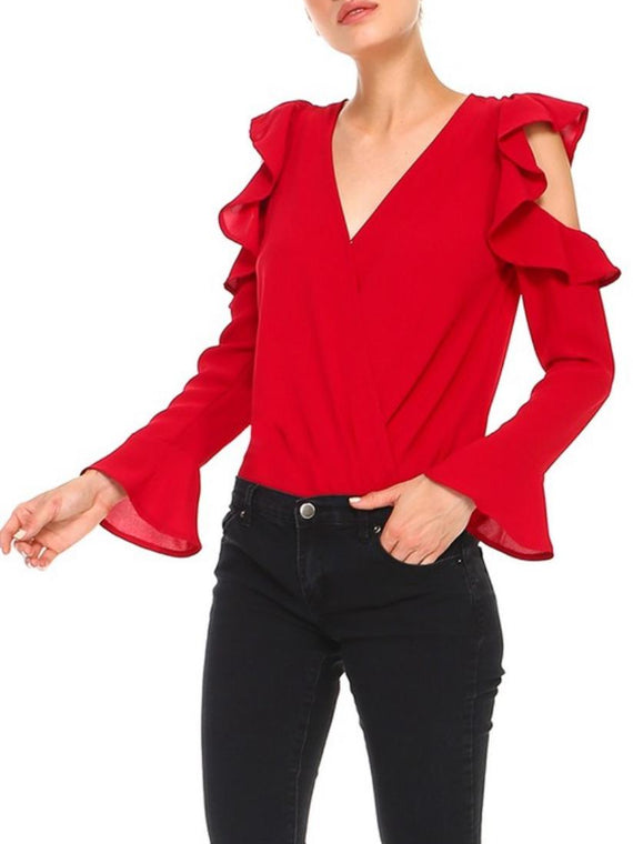 RED COLD SHOULDER BODYSUIT