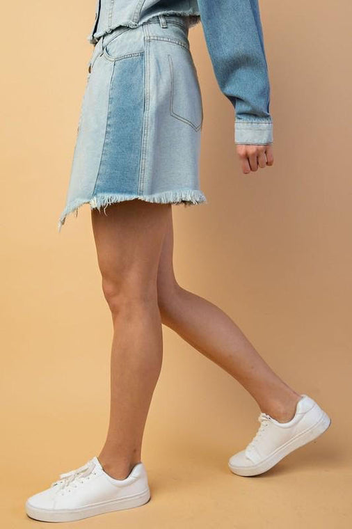 Colorblock Denim Skirt with Pockets