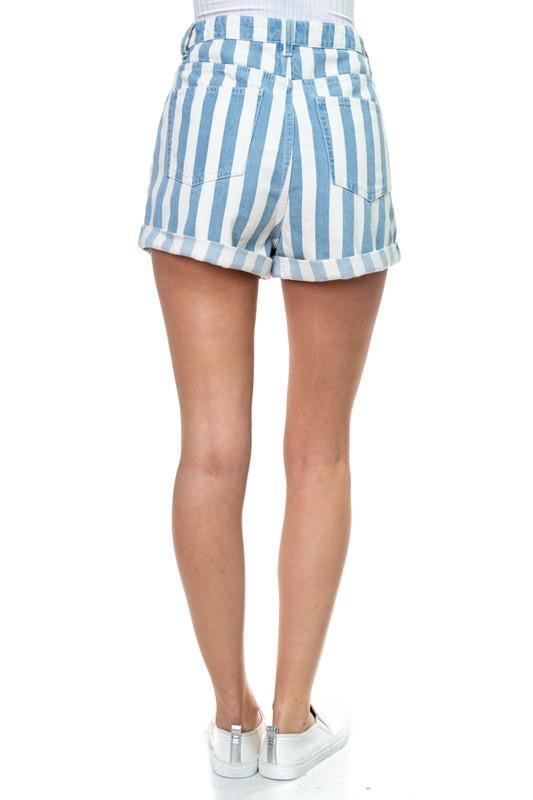STRIPED DENIM ROLLED UP SHORTS