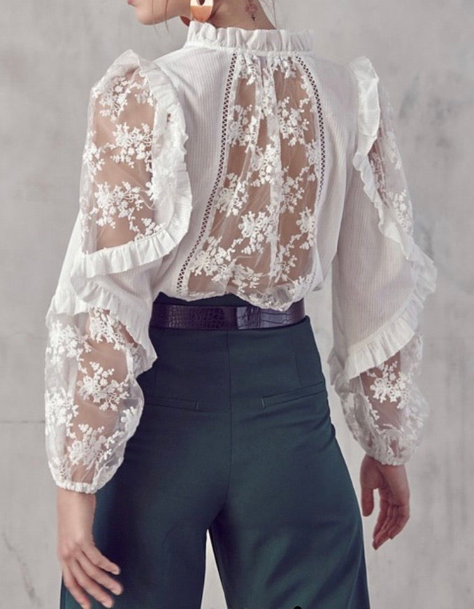 SLEEVE LACE DETAIL RUFFLE TOP