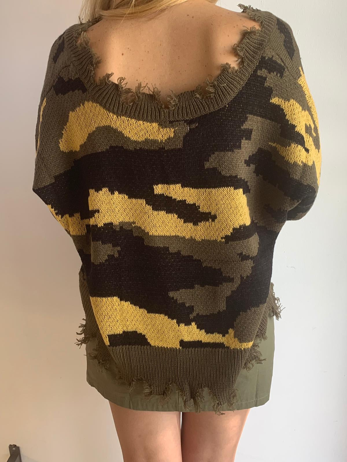 Camo Destroyed Sweater