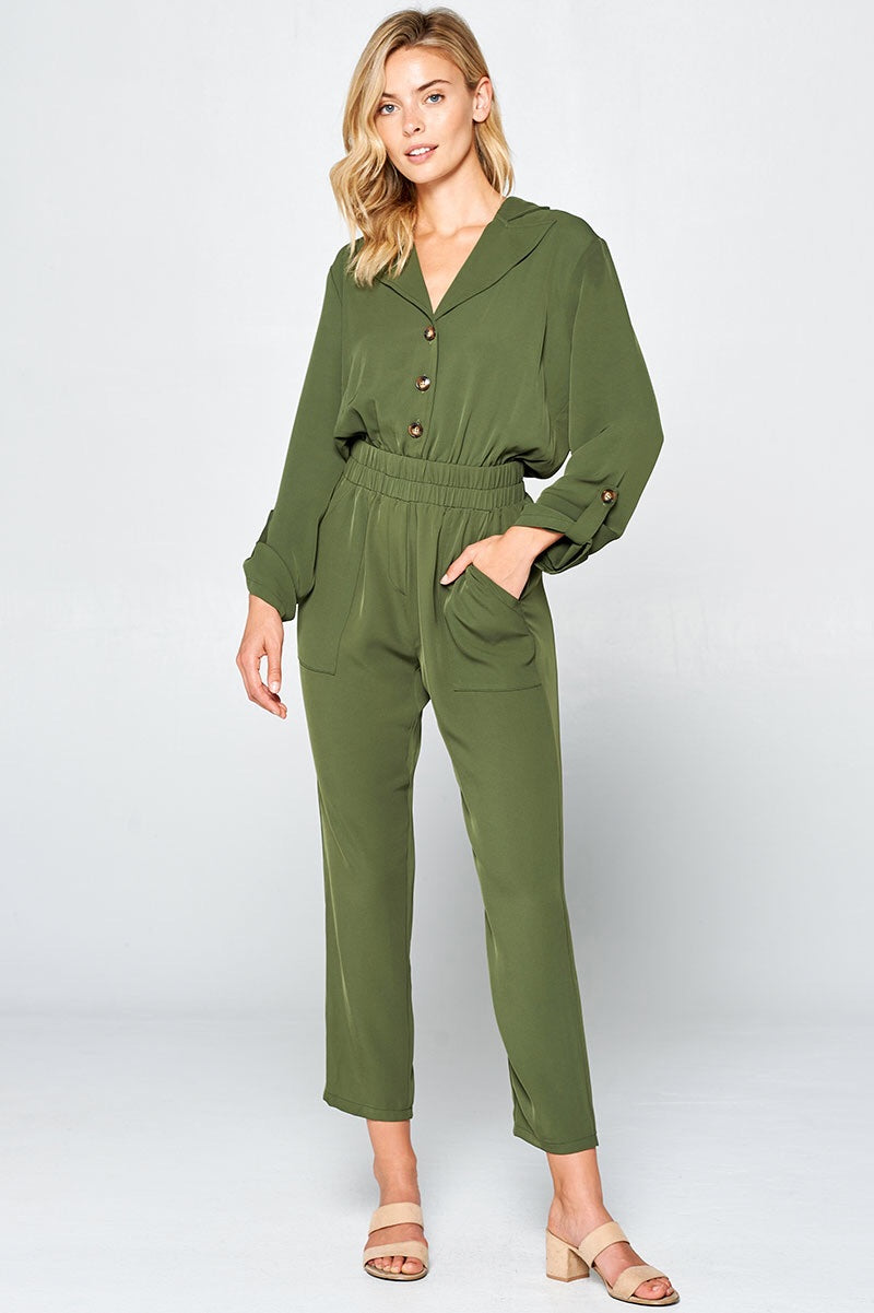Falino Long Sleeve Elastic Coverall Jumpsuit