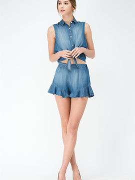 Ruffle Jean Mini Short