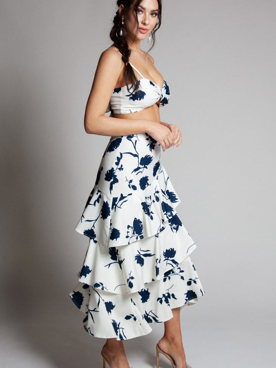 Long Ruffle Navy Flowers Skirt