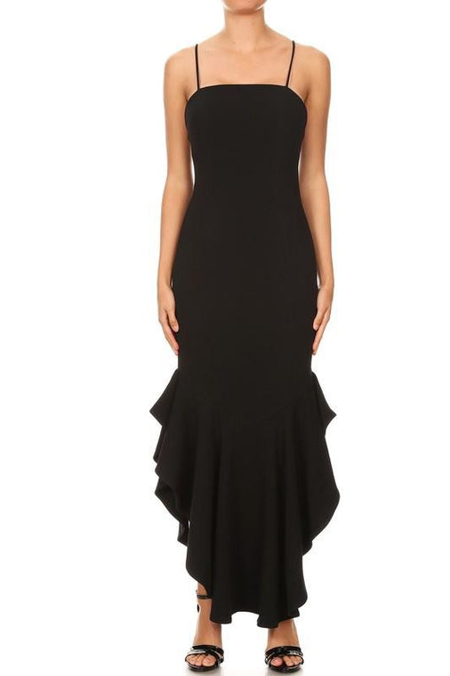 Ruffle Midi Black Long Dress
