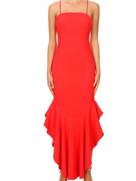 Ruffle Midi Coral Long Dress