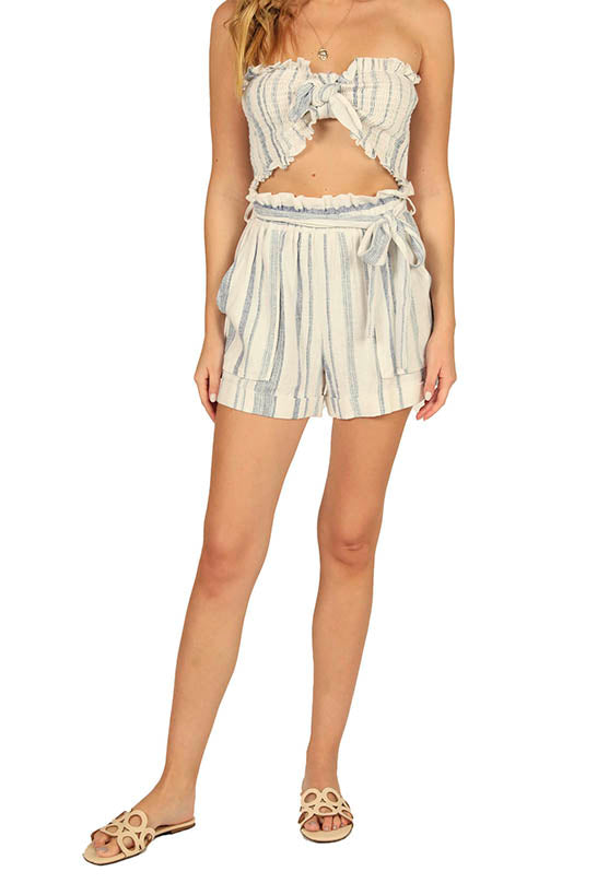 SAILOR STRIPE LINEN BLEND SMOCKED BANDEAU