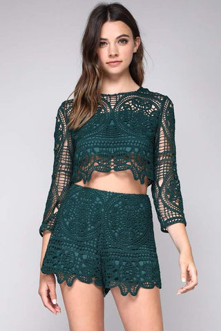 GREEN EMBROIDERED CROP TOP