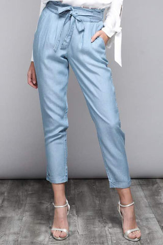 CHAMBRAY BELTED PANTS