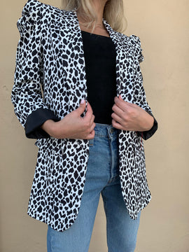 BUBBLE SLEEVE PRINTED BLAZER