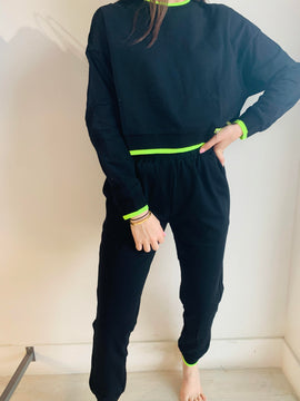 BLACK NEON STRIPE JOGGER SET