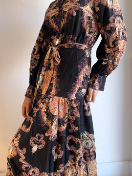 BLACK PAISLEY PRINT MAXI DRESS