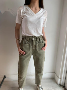 OLIVE DENIM TROUSERS