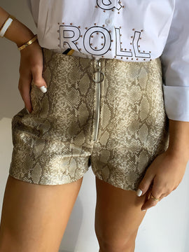 LEATHER SNAKE PRINT SHORTS