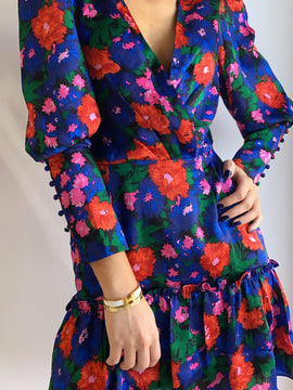 COBALT FLORAL PUFF SLEEVE MINI DRESS