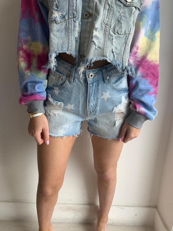 STAR DENIM PRINT SHORTS