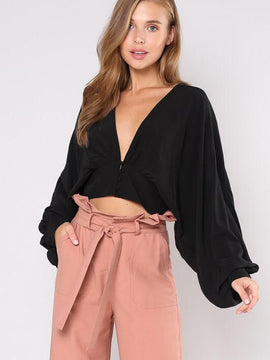 DEEP V- NECK CROP TOP
