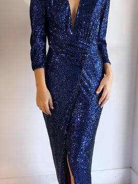 LONG SEQUIN NAVY DRESS