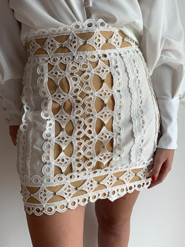 Studded Lace White Skirt