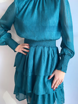 TEAL OPEN BACK LONG SLEEVE DRESS