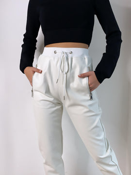 WHITE CUFFED LEATHER JOGGERS