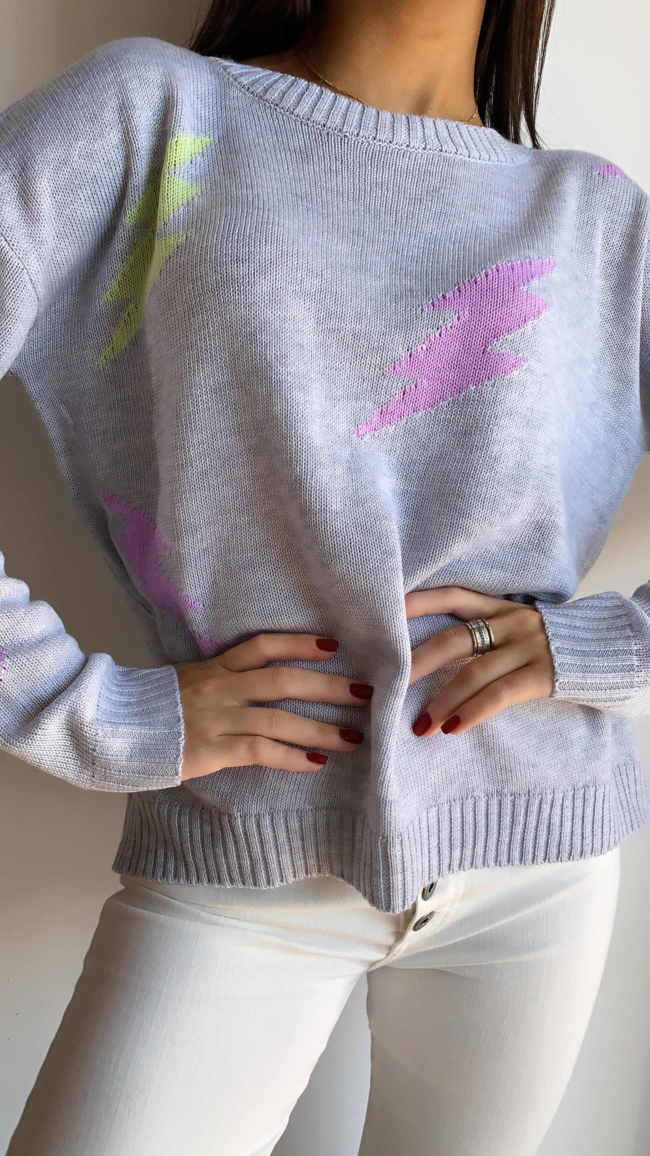 GREY LIGHTING BOLT SWEATER