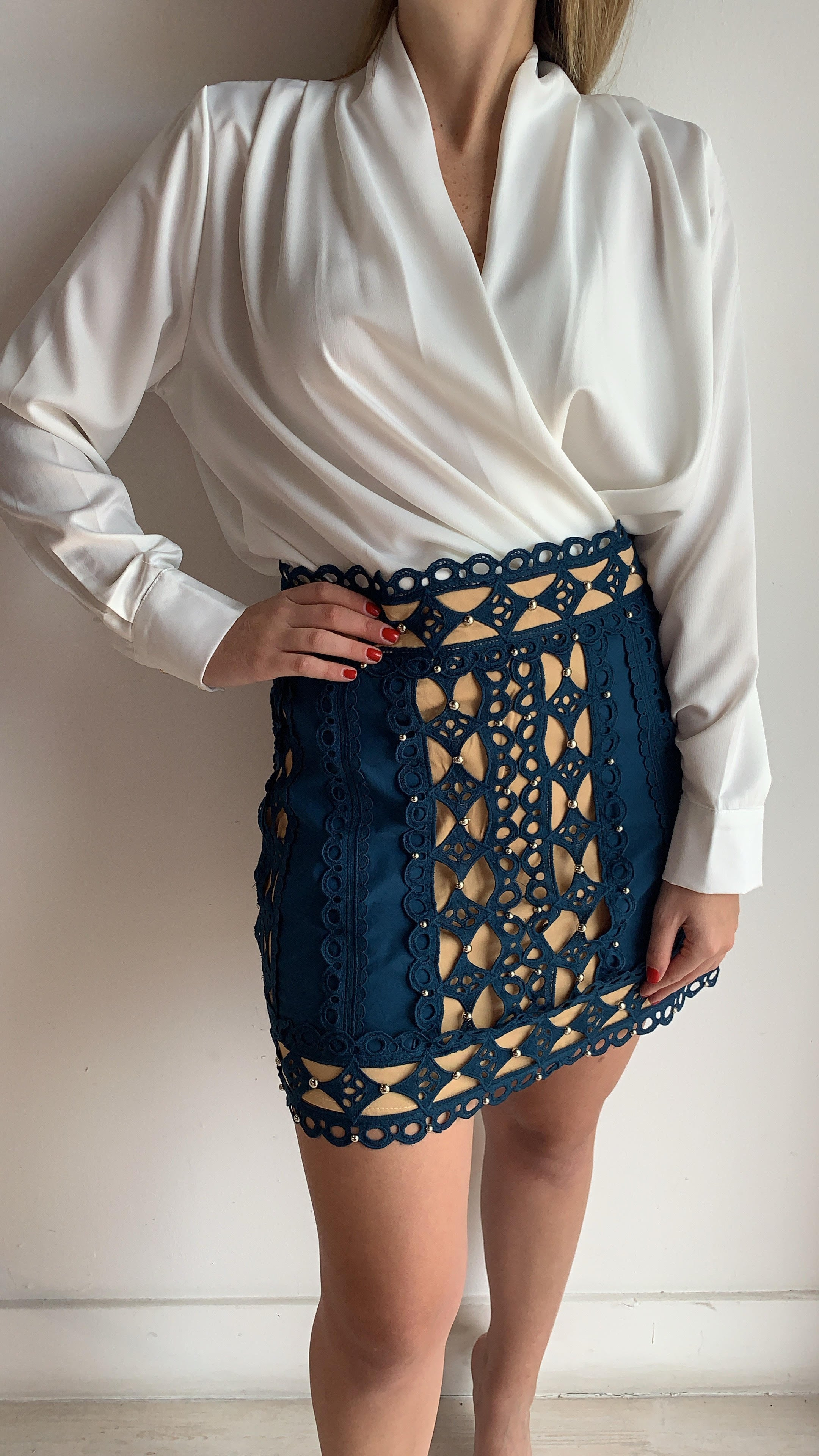 Studded Lace Teal Skirt