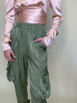 GREEN SATIN CARGO JOGGERS WITH SIDE POCKETS FINAL SALE