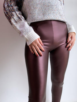 BURGUNDY COATED LEGGINGS
