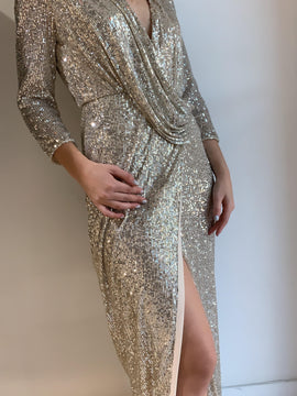 LONG SEQUIN CHAMPAGNE DRESS